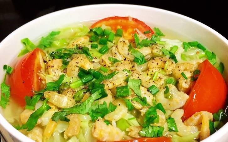 Thay đổi khẩu vị bữa ăn với canh bắp cải tôm khô