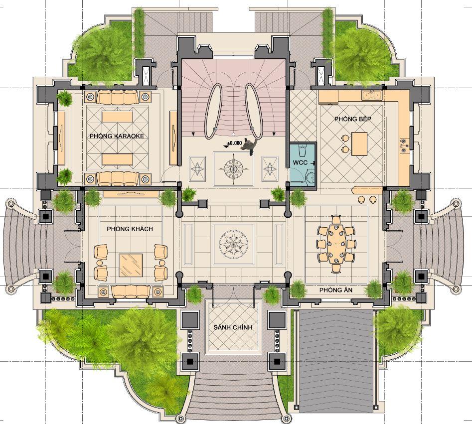 Thiết kế biệt thự 3 tầng tân cổ điển tại Vĩnh Phúc