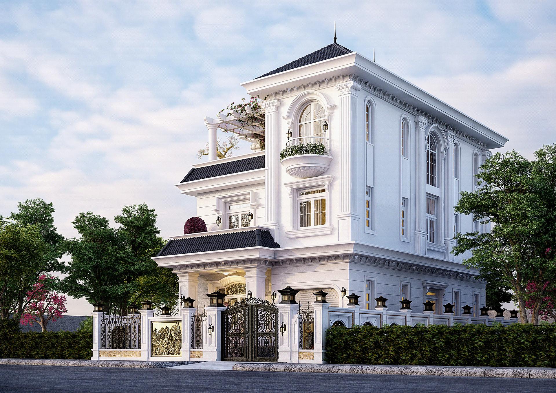 Thiết kế kiến trúc biệt thự phố hiện đại kết hợp tân cổ điển