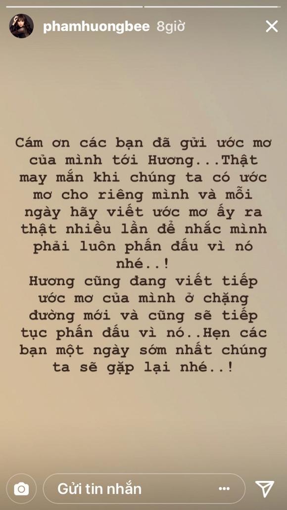 Dù đang ở Mỹ, Phạm Hương tuyên bố vẫn viết tiếp ước mơ và sớm quay lại