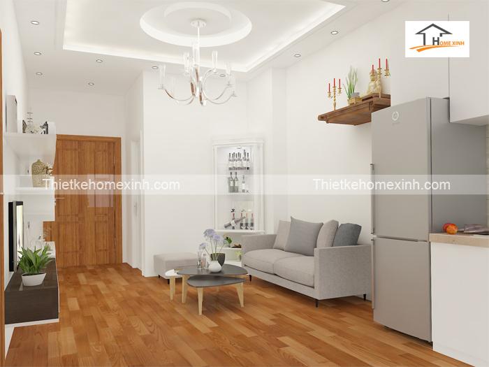 Thiết kế nội thất phòng khách có bàn thờ
