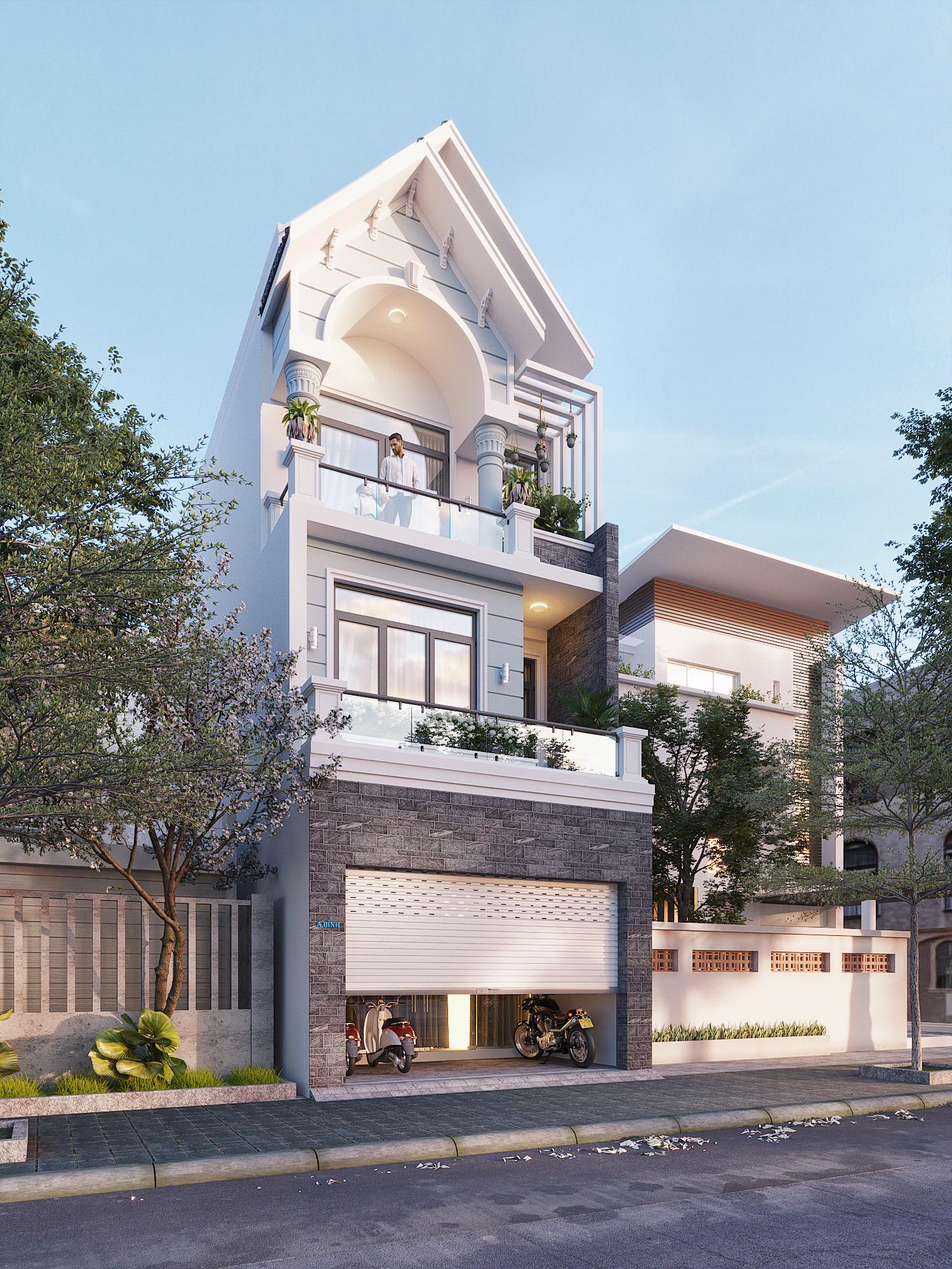 Mẫu thiết kế kiến trúc nhà phố đẹp 3 tầng