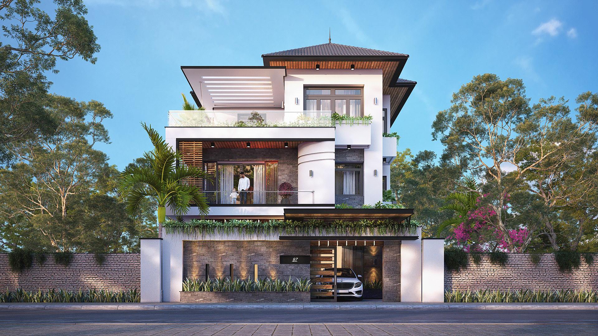 [Giới Thiệu] Thiết kế ngoại thất nhà phố 3 tầng hiện đại