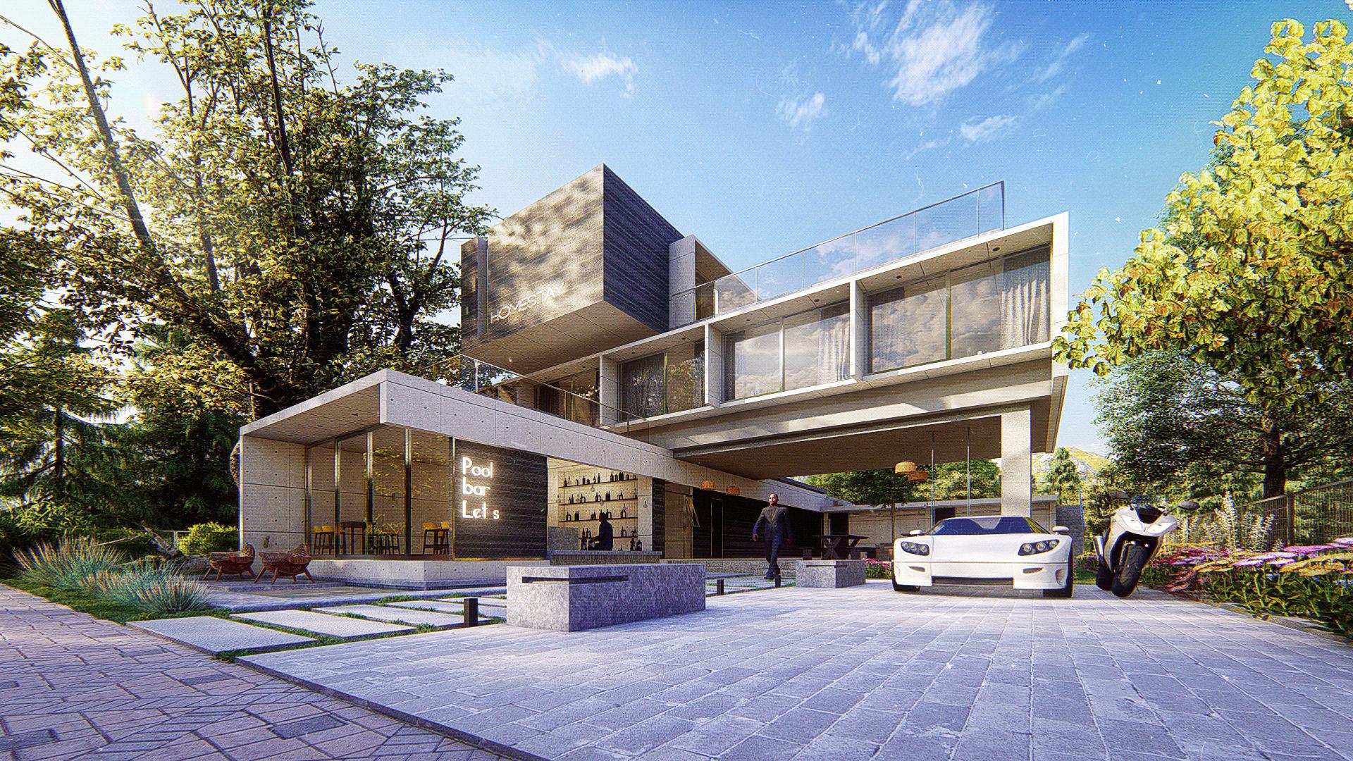 [Giới thiệu] Thiết kế kiến trúc homestay hiện đại 3 tầng