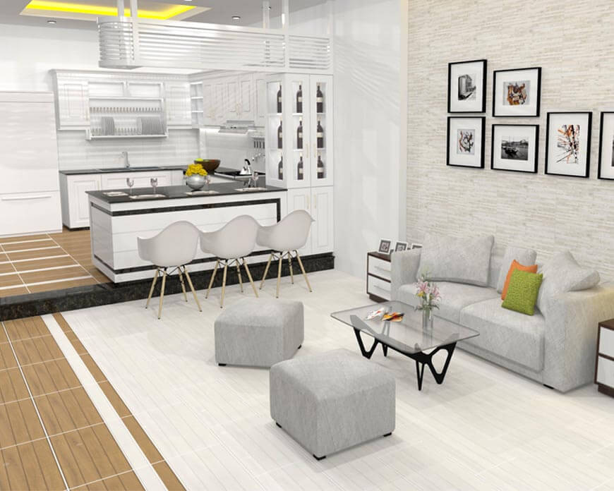 Chọn gạch ốp sàn phù hợp với không gian phòng khách