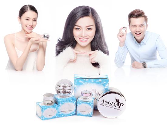 Nam Cường & Lê Hà làm người mẫu cho mỹ phẩm Angel P Beauty