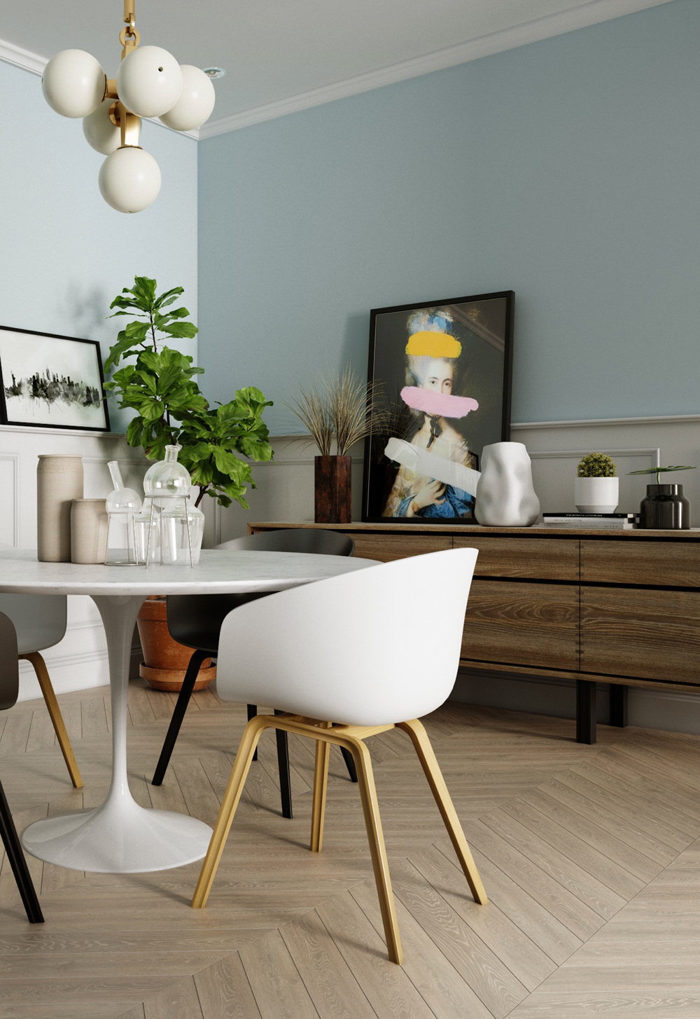 Thiết kế nội thất phòng khách và bếp theo phong cách scandinavia