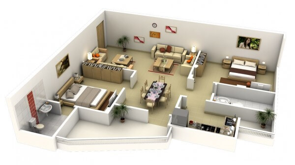 Thiết kế nội thất chung cư 2 phòng ngủ thế nào để tiện nghi nhất?
