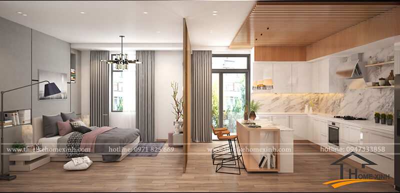 Thiết kế nội thất chung cư 45m2 đẹp, rộng rãi và tiện dụng