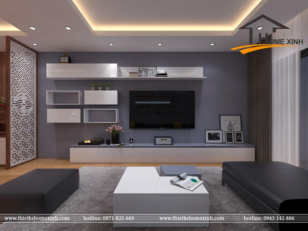 Thiết kế phòng khách màu xám – HomeXinh